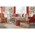 Cozy Life 7688-7689 Button Tufted Sofa with Distressed Wood Base and Light Brass Nails