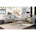 Craftmaster 7691-7692 Contemporary Sofa with Flared Arms and Bench Seat