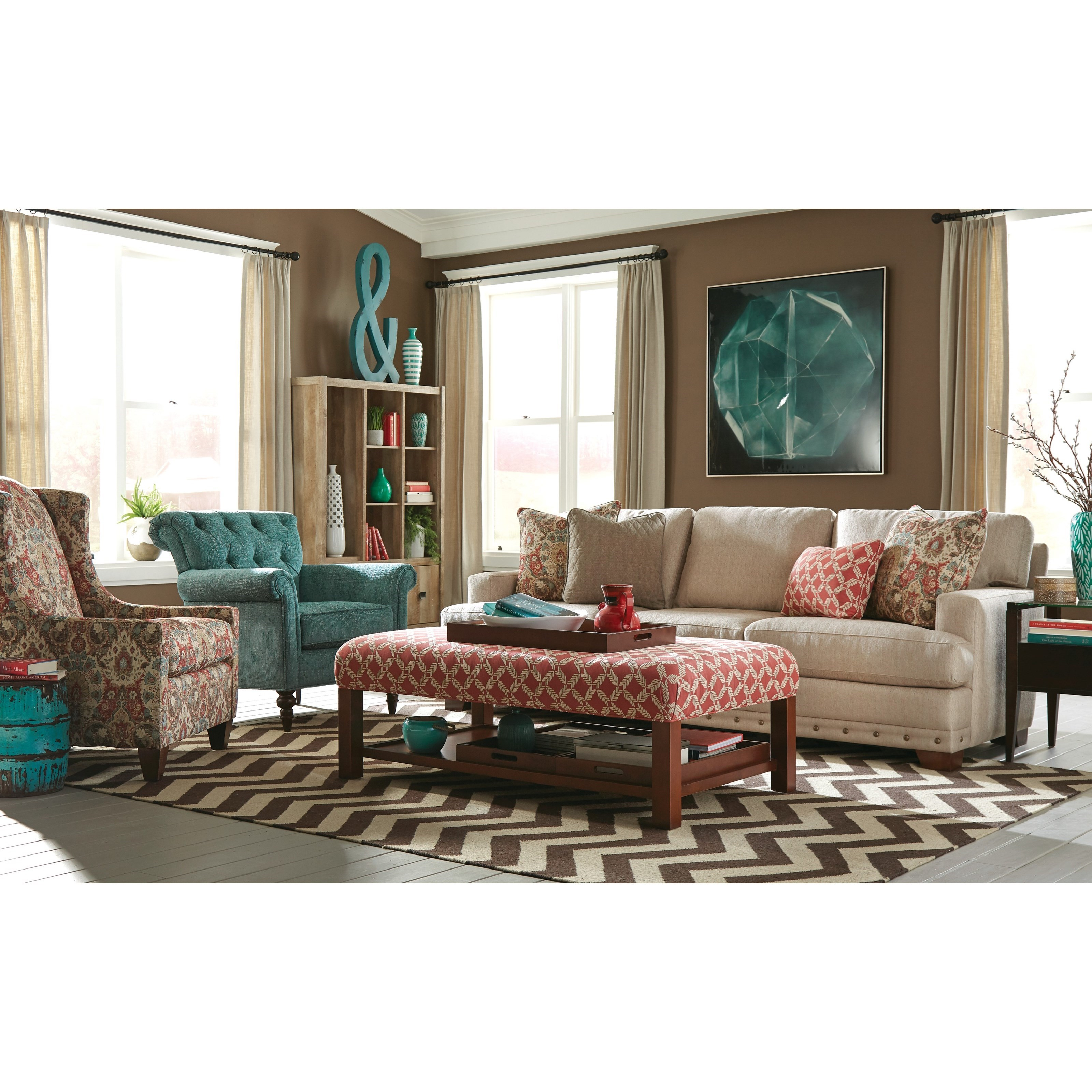 """Craftmaster 782750 Large 100"""" Sofa With Deep Seats And"""