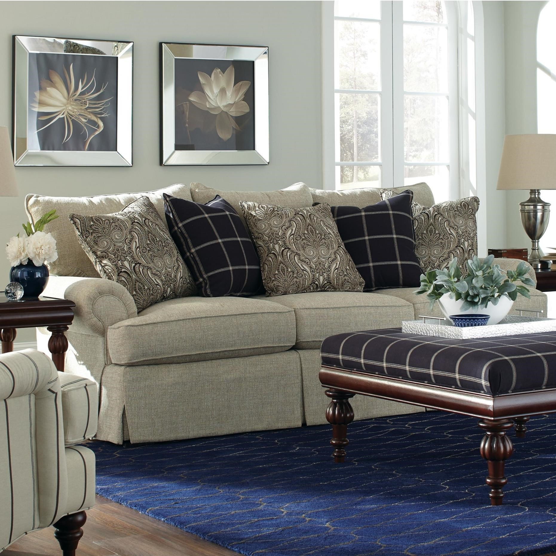 Craftmaster 9275 Loose Pillow Back Sofa with Rolled Arms ...