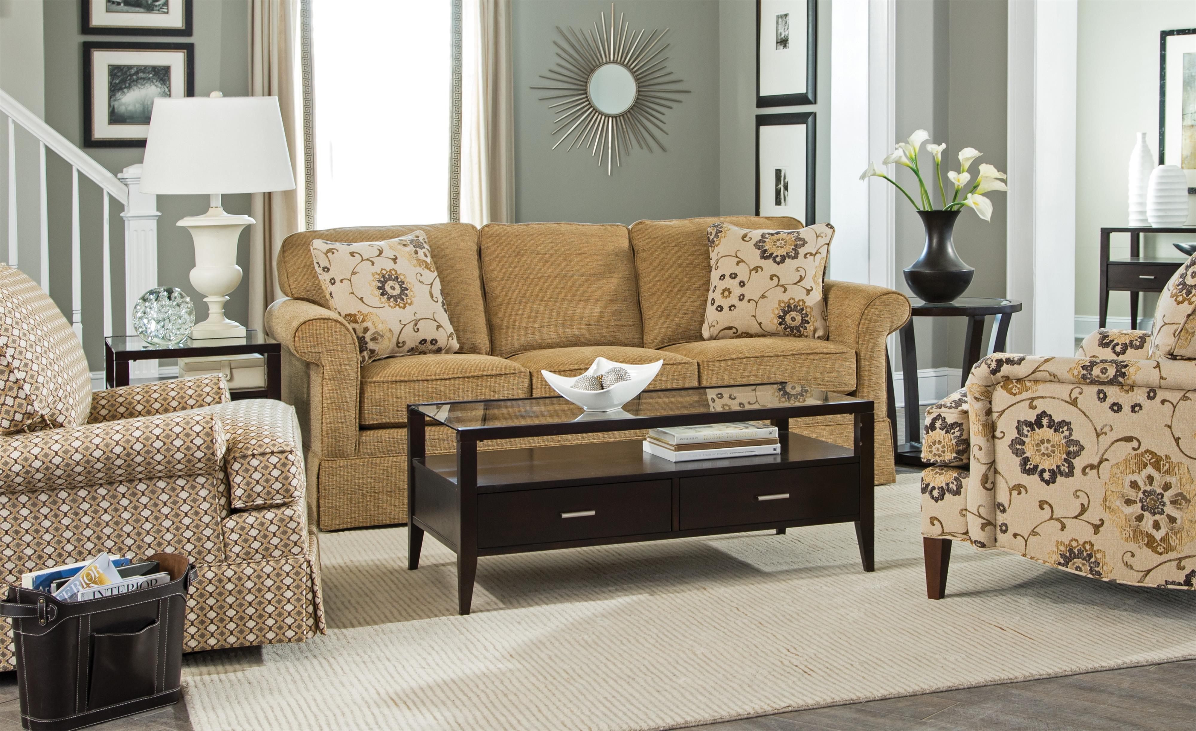 Craftmaster 9438 Traditional Sleeper Sofa With Kick Pleat