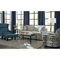 Craftmaster Accent Chairs Modern Wing Chair and Ottoman Set