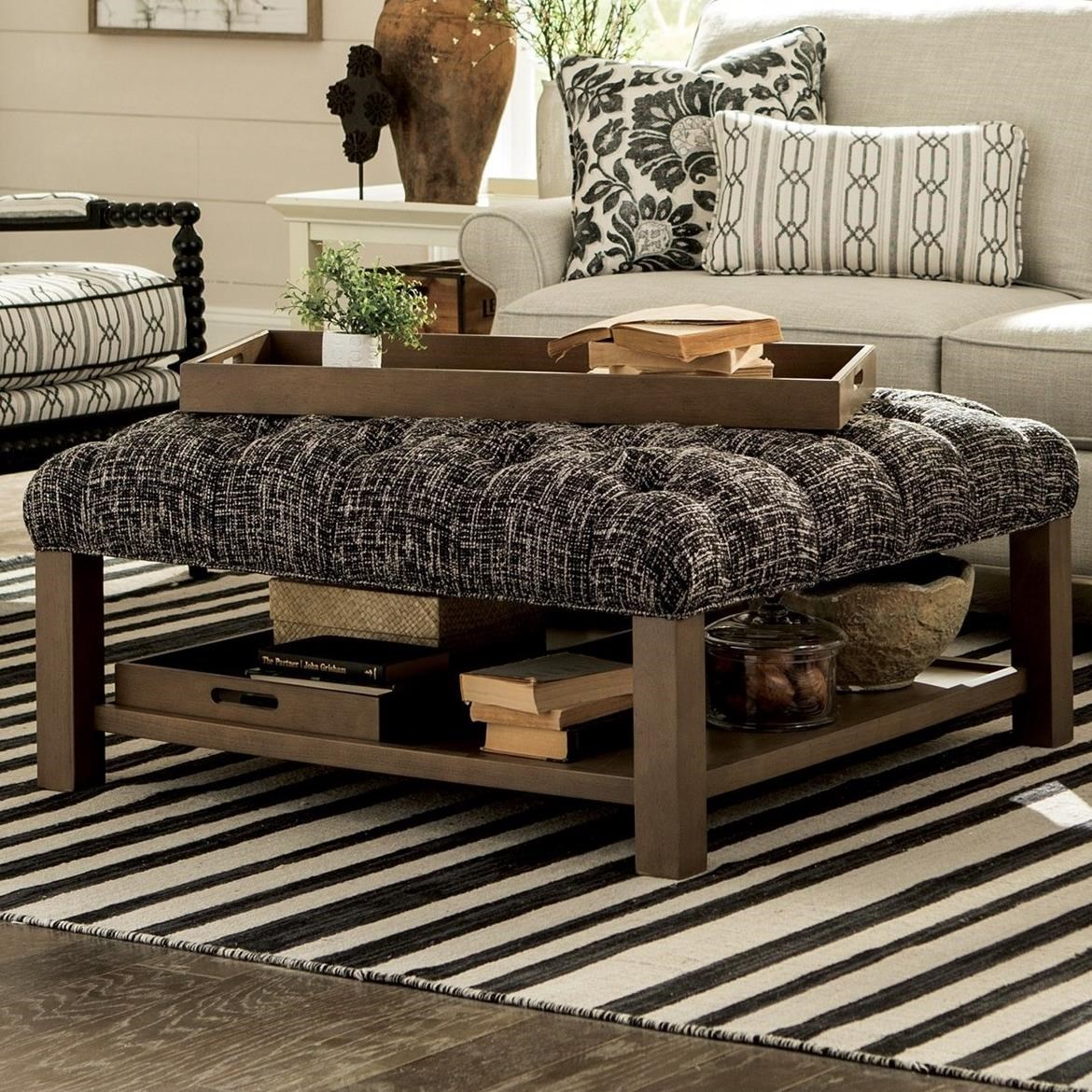 Enjoyable Hickorycraft Accent Ottomans Cocktail Ottoman With Button Gmtry Best Dining Table And Chair Ideas Images Gmtryco