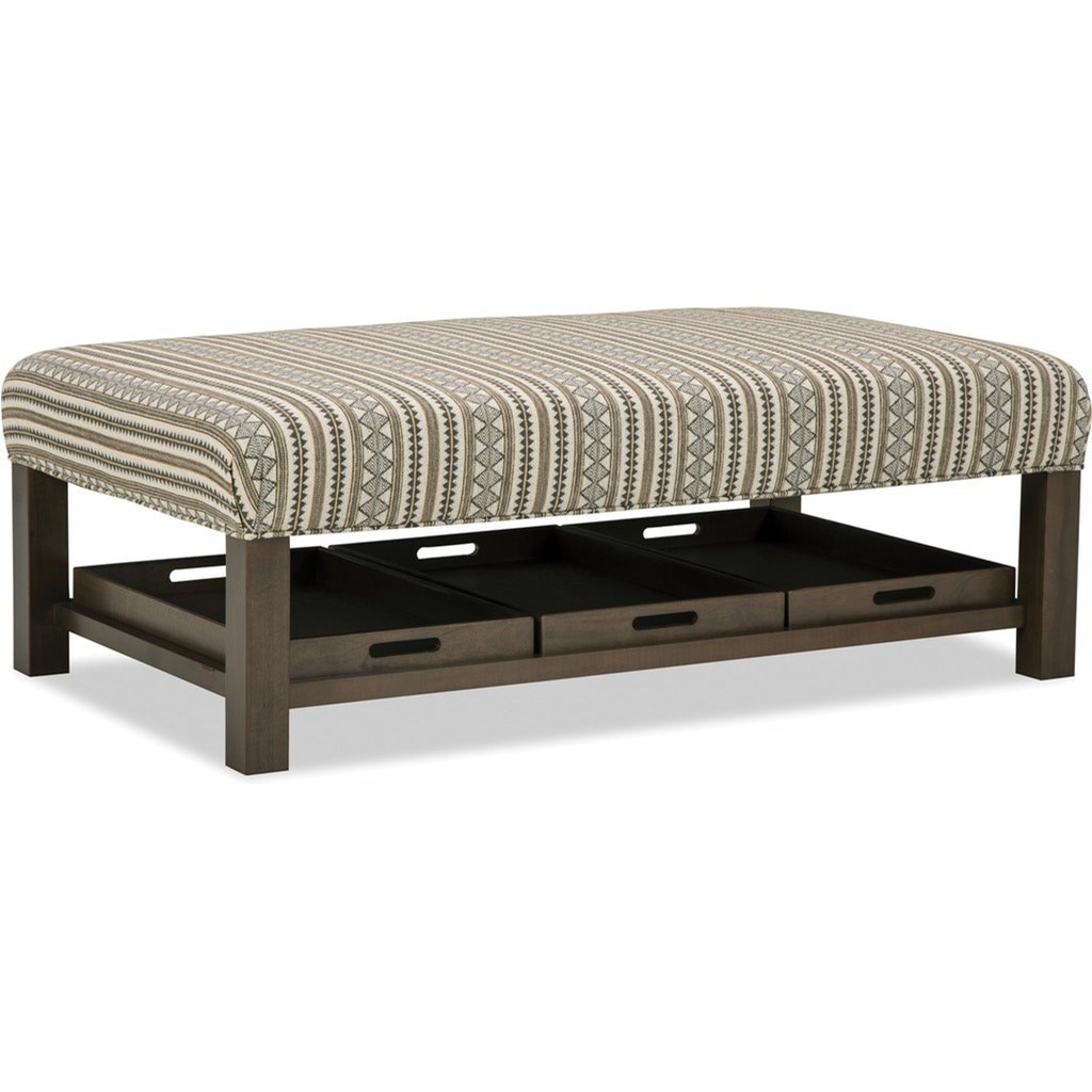 Accent Ottomans Storage Bench Ottoman with Tray Storage by Hickorycraft at Johnny Janosik
