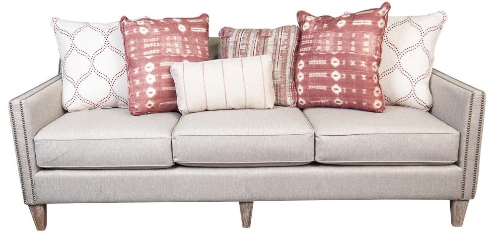 June Upholstered Sofa with Accent Pillows
