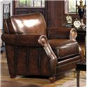 Craftmaster L1215 Traditional Leather Stationary Chair with Rolled Arms and Nailhead Trim - L121510