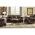 Craftmaster L121550 Traditional Leather Sofa with Rolled Arms and Nailhead Trim