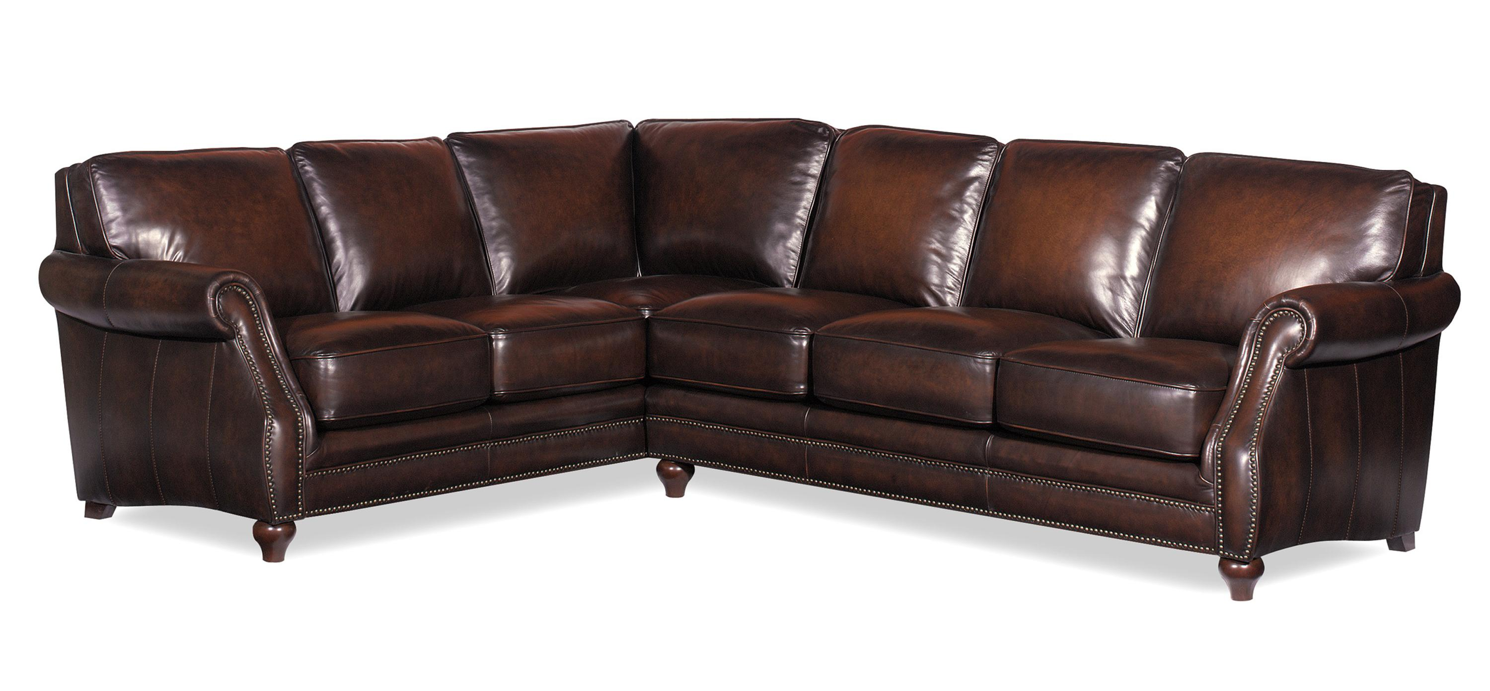 L121500 Traditional Two Piece Leather Sectional Sofa With Rolled Arms And Nailhead Trim By Craftmaster