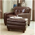 Craftmaster L1348 Contemporary Leather Chair with Decorative Topstitching - L134710
