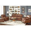 Craftmaster L164650 Traditional Leather Chair with Bustle Back and Nailhead Trim