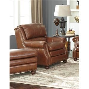 Craftmaster Downey Leather Chair & Ottoman