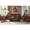 Craftmaster L180950 Traditional Leather Chair and Ottoman Set with Nailheads