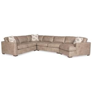 5-Seat Sectional Sofa w/RAF Cuddler & Pillow