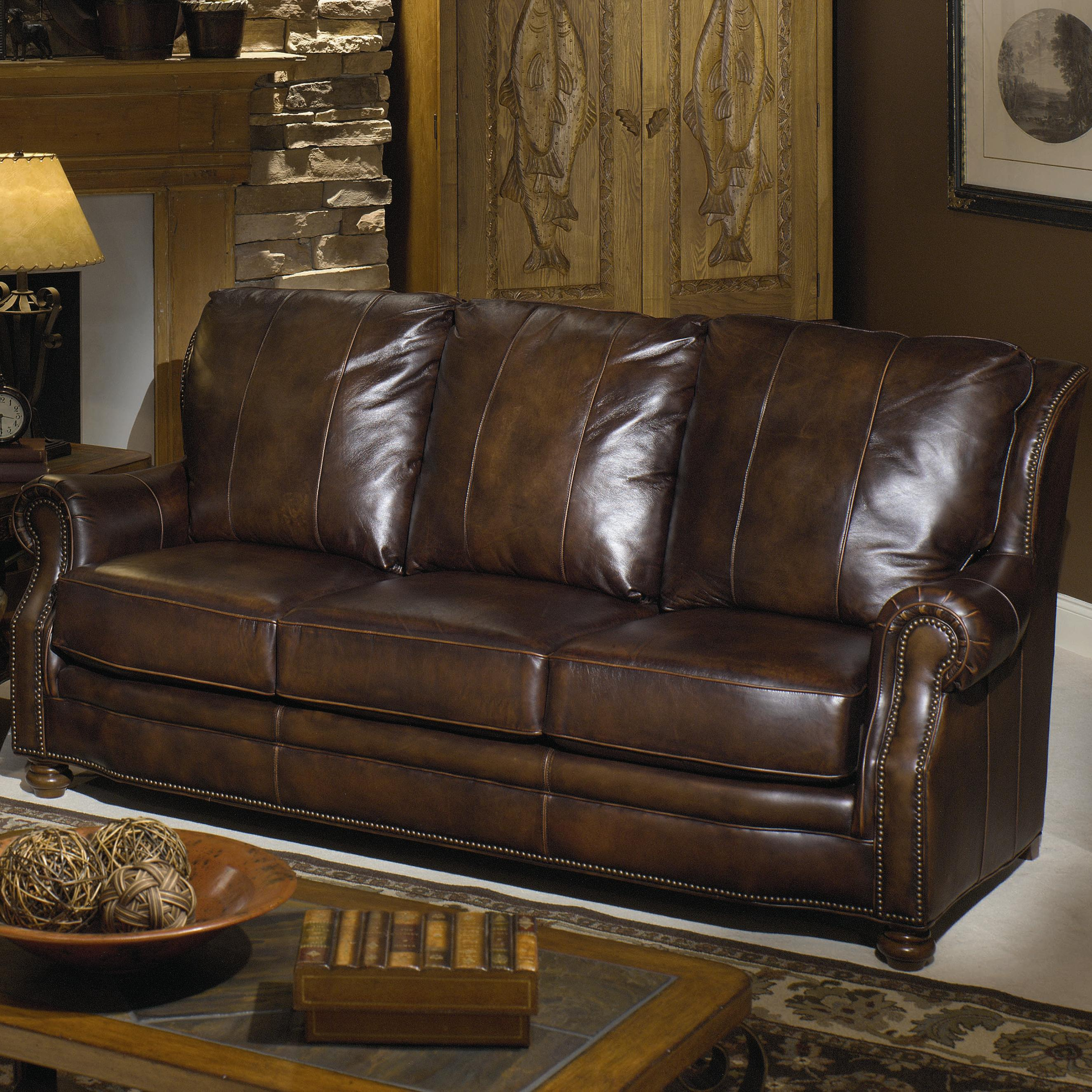 Craftmaster L785 Leather Sofa with Decorative Nailhead Trim FMG
