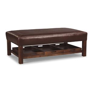 Craftmaster Leather Accents Storage Cocktail Ottoman