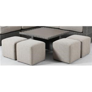 Riversedge Outdoor Table with Ottomans