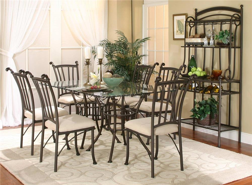 Cramco, Inc Marissa 7PC Glass Table/Chair Set w/ Bakers Rack - Item Number: 72095-42+2x47+6x01+85