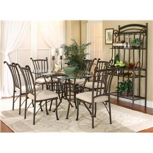 Cramco, Inc Marissa 7PC Glass Table/Chair Set w/ Bakers Rack