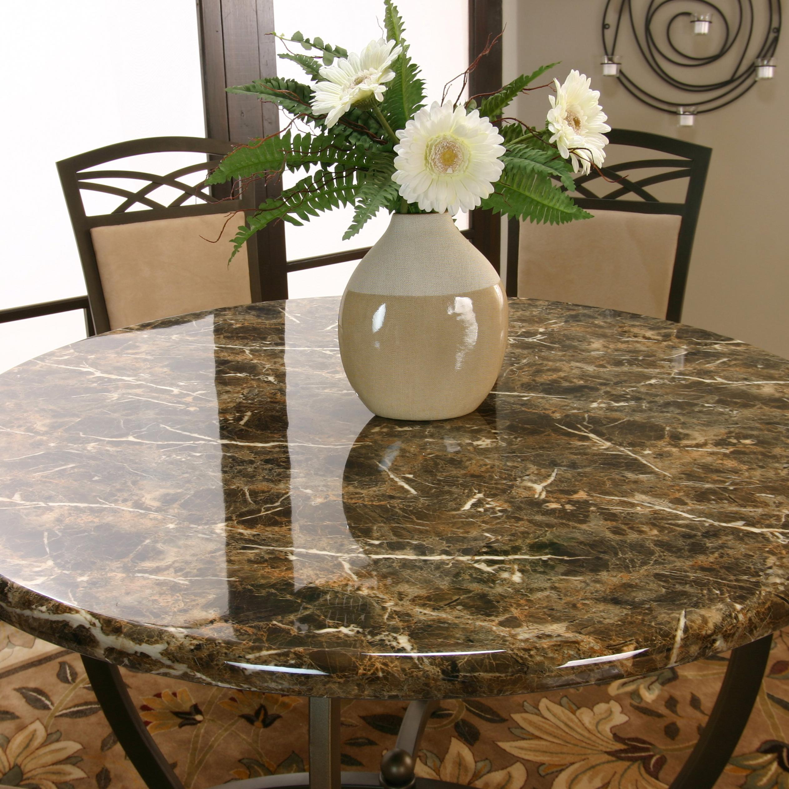 Cramco Inc Atlas Round Dinner Table W Faux Marble Top