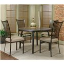Cramco, Inc Cramco Dinettes - Bellevue Round Dining Table with Old Oak Finish - Shown with Four Dining Side Chairs