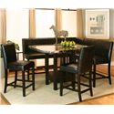 Cramco, Inc Chatham Square Clipped Corner Pub Table w/ Faux Marble Top - Shown with Counter Stools, Corner Stool and Bench