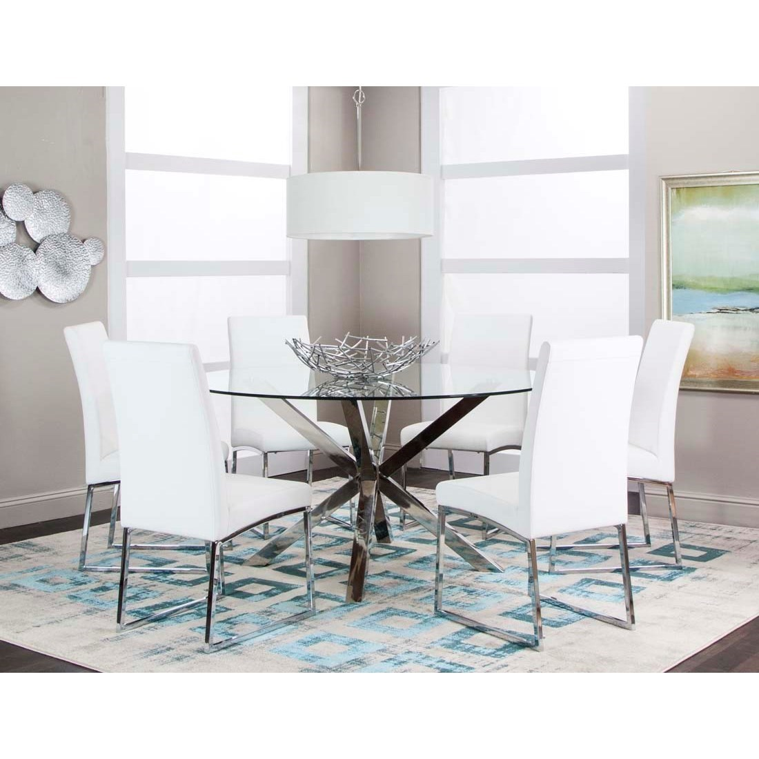 Cramco Inc Classic 7 Piece 59 Round Glass Table Set Value City Furniture Dining 7 Or More Piece Sets