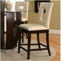 Cramco, Inc Contemporary Design - Emerson Ivory Vinyl Cut-Out Back Stool - Item Number: 45133-24