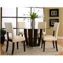 Cramco, Inc Contemporary Design - Emerson Round Tempered Glass Table w/ Dark Cherry Pedestal Base - Shown as Part of 5 Piece Table Set with Square Back Chairs