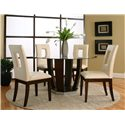 Cramco, Inc Contemporary Design - Emerson Round Tempered Glass Table w/ Dark Cherry Pedestal Base - Shown as Part of 5 Piece Table Set with Cut Out Back Chairs