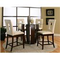 Cramco, Inc Contemporary Design - Emerson Round Tempered Glass Pub Table - Shown with 4 Stools