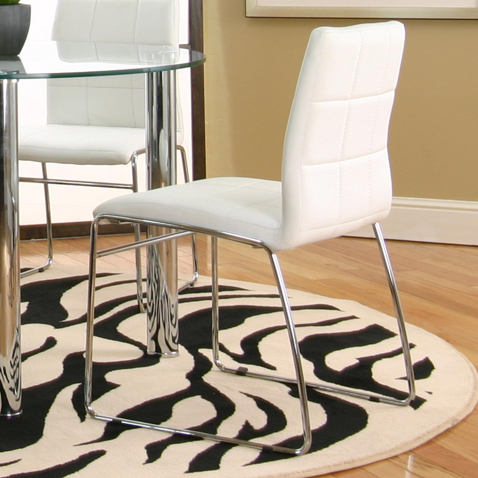 White Polyurethane Sled Side Chair