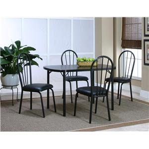 "Cramco, Inc Cramco Dinettes - Ebony 48"" Laminate Table and 4 Side Chairs Set"