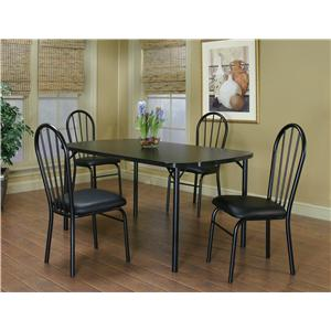 "Cramco, Inc Cramco Dinettes - Ebony 60"" Laminate Table and 4 Side Chairs Set"