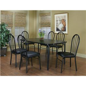 "Cramco, Inc Cramco Dinettes - Ebony 60"" Laminate Table and 6 Side Chairs Set"