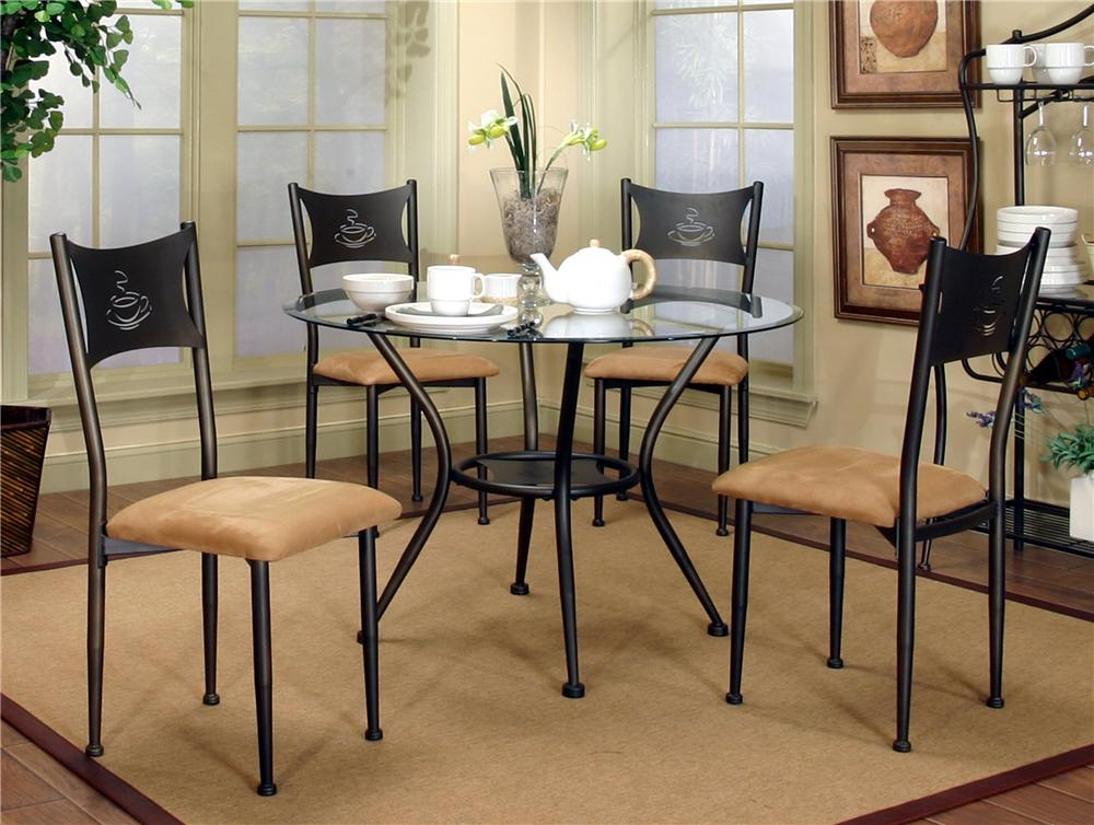 Cramco, Inc Cramco Trading Company - Maxwell Dining Side Chairs and Glass Top Table Set - Item Number: 4x72454_01+72454_41+72454_47