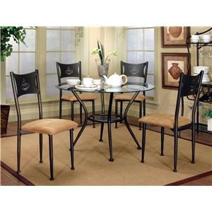 Cramco, Inc Cramco Trading Company - Maxwell Dining Side Chairs and Glass Top Table Set