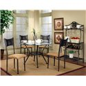 "Cramco, Inc Cramco Trading Company - Maxwell Antique Bronze/Glass Baker's Rack - Baker\'s Rack Shown with Four Dining Side Chairs and 45"" Round Glass Top Table Set."