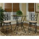 Cramco, Inc Cramco Trading Company - Starling Round Glass Pub Table w/ Textured Black Pedestal Base - Shown as Part of 3 Piece Pub Set with 2 X Back Swivel Stools