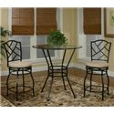 Cramco, Inc Cramco Trading Company - Starling Round Glass Pub Table w/ Textured Black Pedestal Base - Shown as Part of 3 Piece Pub Set with 2 Puzzle Back Swivel Stools