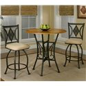 Cramco, Inc Cramco Trading Company - Dart Round Oak Veneer Wood Top Counter Height Table - Shown with Counter Stools