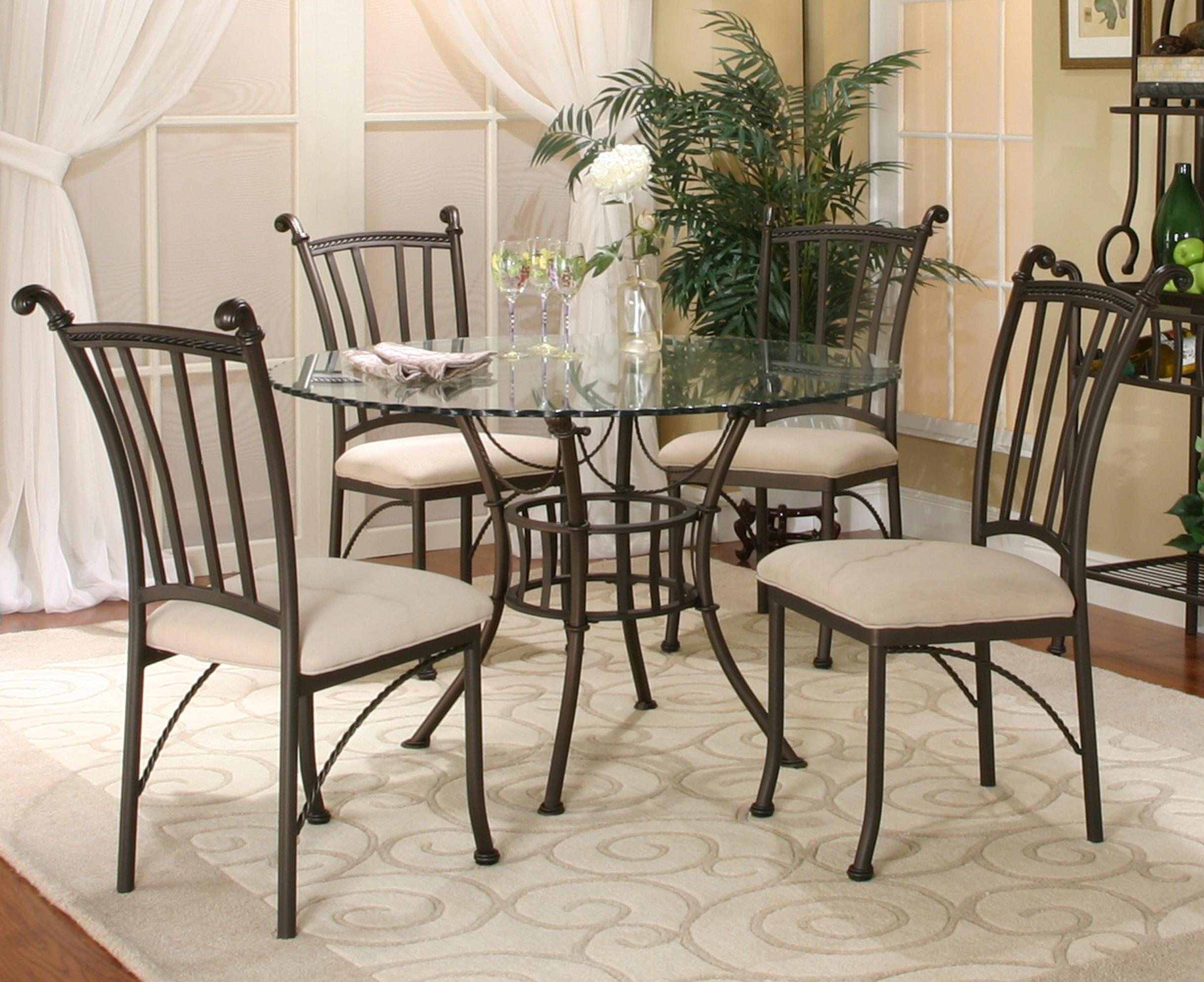 Cramco, Inc Denali 5 Piece Round Glass Table with Chairs - Item Number: 72095-41+47+4x01