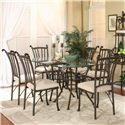 Cramco, Inc Denali Rectangular Chisel Cut Glass Table - Shown with Chairs