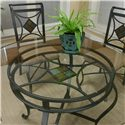 Cramco, Inc Cramco Trading Company - Glendale  Round Metal Table w/Glass Top - Beveled Edge Glass Top