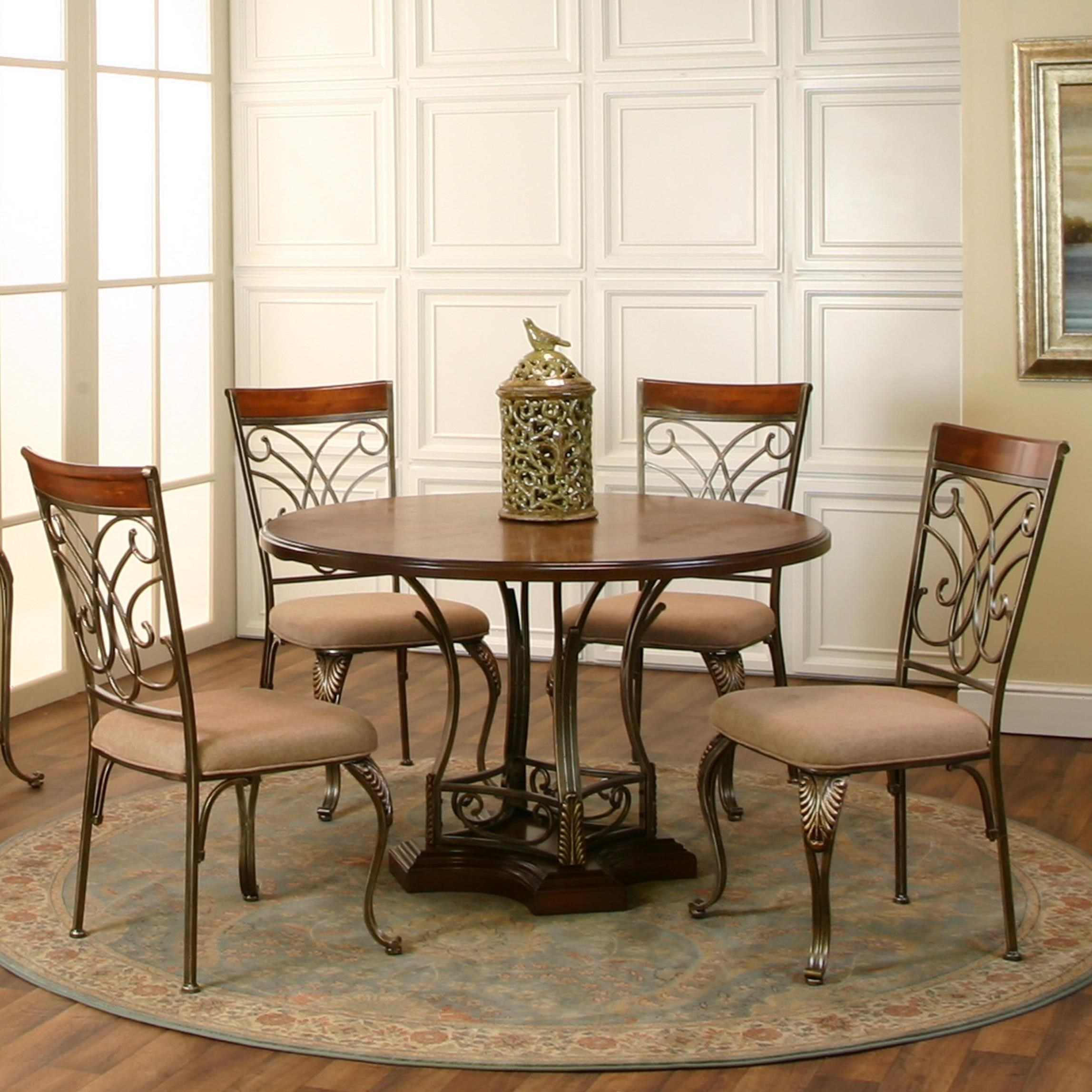 Cramco, Inc Harlow 5-Piece Round Metal/Wood Table Set - Item Number: J9186-63+61+4x01