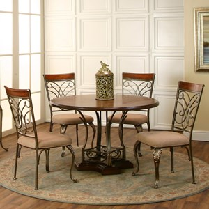 Cramco, Inc Harlow 5-Piece Round Metal/Wood Table Set
