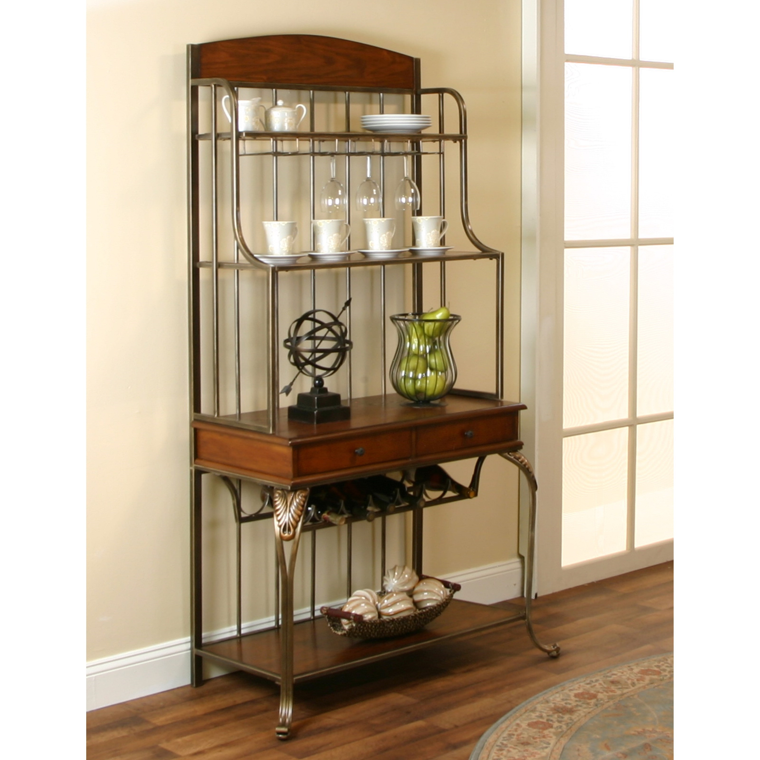 Cramco, Inc Harlow Golden Bronze/Ash Veneer Baker's Rack - Item Number: J9186-85
