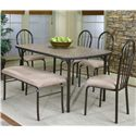Cramco, Inc Cramco Dinettes - Heath Woodstock Granite Laminate Top Table - Shown with Side Chairs and Bench