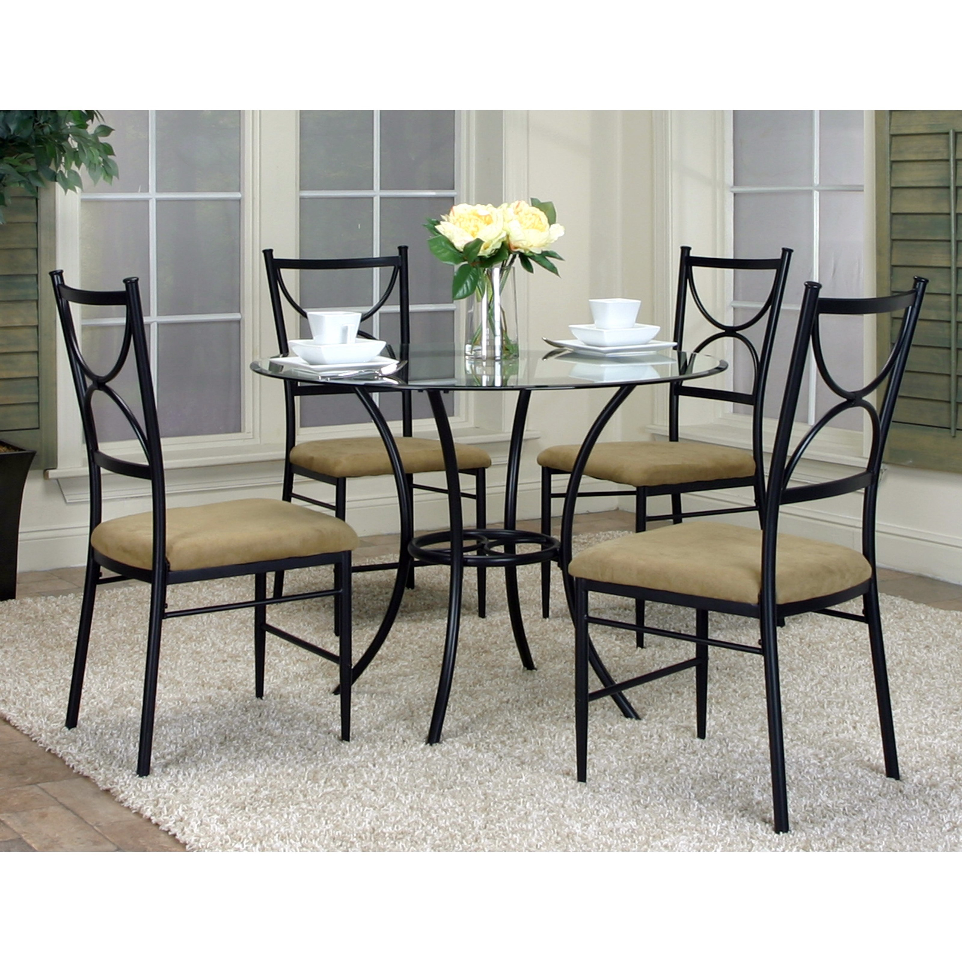 Cramco, Inc Hudson 5-Piece Round Glass Top Table Set - Item Number: W2230-70+41