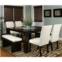 Cramco, Inc Contemporary Design - Kemper Square Dining Table with Frosted Glass Insert - Shown with Ivory Benches and Sides Chairs