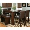 Cramco, Inc Contemporary Design - Kemper Square Pub Table with Frosted Glass Insert - Shown with Cordovan Counter Benches and Stools